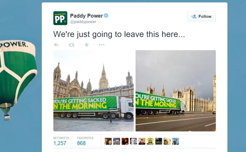 Paddy Power Sacked In The Morning Truck Ad PR stunt from In Your Space
